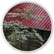 White Dogwood In The Rain Round Beach Towel