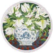 White Double Tulips And Alstroemerias Round Beach Towel