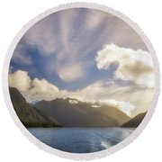 White Dragon Cloud In The Sky At Lake Manapouri Round Beach Towel