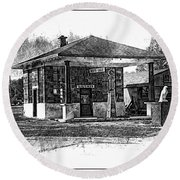 White Eagle Gas Station Round Beach Towel