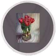 White-edged Red Tulips Round Beach Towel