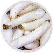 White Eggplants Round Beach Towel