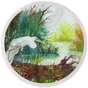 White Egret Swamp Round Beach Towel