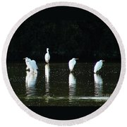 White Egrets Round Beach Towel