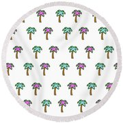 White Epic Palm Tree Print Round Beach Towel
