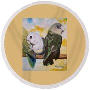 Chloe The    Flying Lamb Productions           White Faced Lovebirds Round Beach Towel