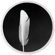 White Feather Round Beach Towel