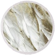 White Feathers With Gold Round Beach Towel