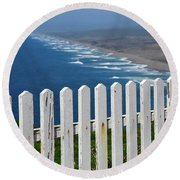 White Fence And Waves Round Beach Towel