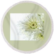 White Floral Round Beach Towel