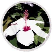White Flower Work Number 4 Round Beach Towel