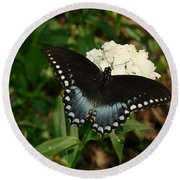 White Flowered Butterfly Round Beach Towel
