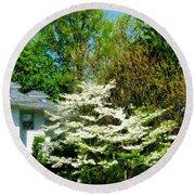 White Flowering Tree Round Beach Towel