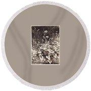 White Flowers 1877 12 3h9 Ivan Ivanovich Shishkin Round Beach Towel