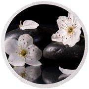 White Flowers Black Stones Round Beach Towel
