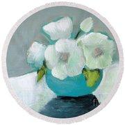 White Flowers In Blue Vase Round Beach Towel