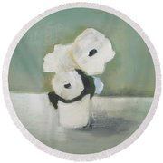 White Flowers In Vase Round Beach Towel