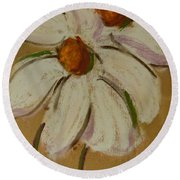 White Flowers Round Beach Towel