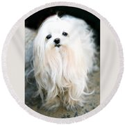 White Fluff Round Beach Towel