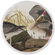 White-fronted Goose Round Beach Towel