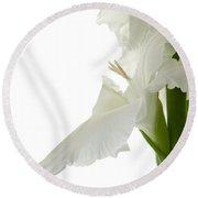 White Gladiola Round Beach Towel