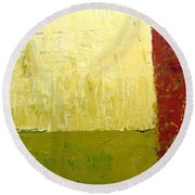 White Green And Red Round Beach Towel