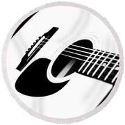 White Guitar 4 Round Beach Towel