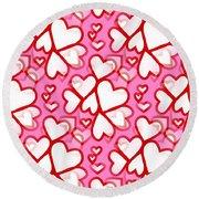 White Hearts - Valentines Pattern Round Beach Towel