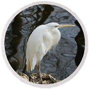White Heron Round Beach Towel