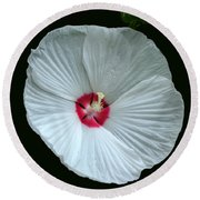 White Hibisci #18 Round Beach Towel