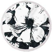 White Hibiscus- Art By Linda Woods Round Beach Towel