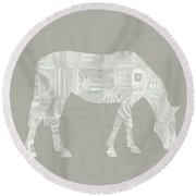 White Horse 2- Art By Linda Woods Round Beach Towel by Linda Woods