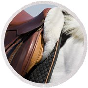 White Horse And Saddle Round Beach Towel