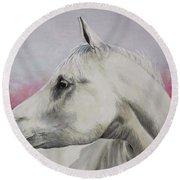 White Horse- Arabian Round Beach Towel