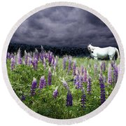 White Horse In A Lupine Storm Round Beach Towel