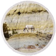 White Horse On A Mound Round Beach Towel
