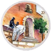 White Horses By The Cathedral In Palma De Mallorca 02 Round Beach Towel