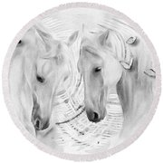 White Horses No 01 Round Beach Towel