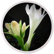 White Hostas Blooming 7 Round Beach Towel