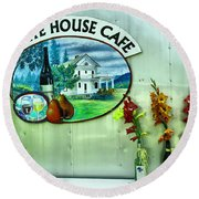 White House Cafe Round Beach Towel