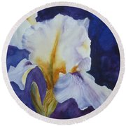 White Iris Round Beach Towel