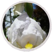 White Iris Flower Art Prints Canvas Irises Artwork Round Beach Towel