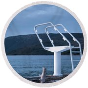 White Ladder Of A Diving Board At The Beach In Cres Round Beach Towel