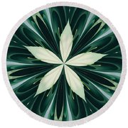 White Leaves In A Green Forest Kaleidoscope Round Beach Towel