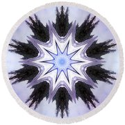 White-lilac-black Flower. Digital Art Round Beach Towel