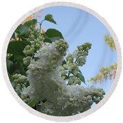White Lilac Round Beach Towel
