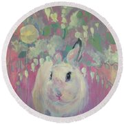 White Lilacs Round Beach Towel