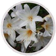 White Lilies Round Beach Towel