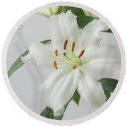 White Lily 2 Round Beach Towel