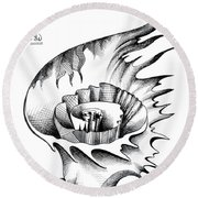 White Lily From The Land Of Absurd Round Beach Towel